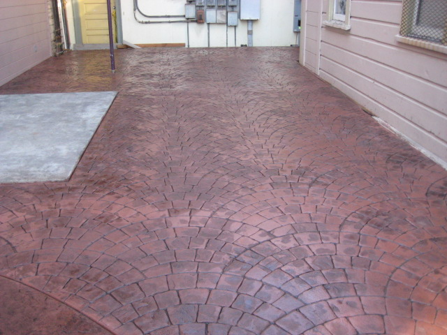 European fan decorative concrete patio